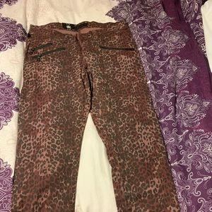 Women's purple leopard print skinny jeans